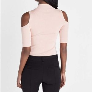 Express Tops - Express Baby Pink Choker Cold Shoulder Top